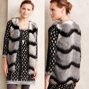 Anthro Elevenses Faux Fur Black Gray Vest sz XS